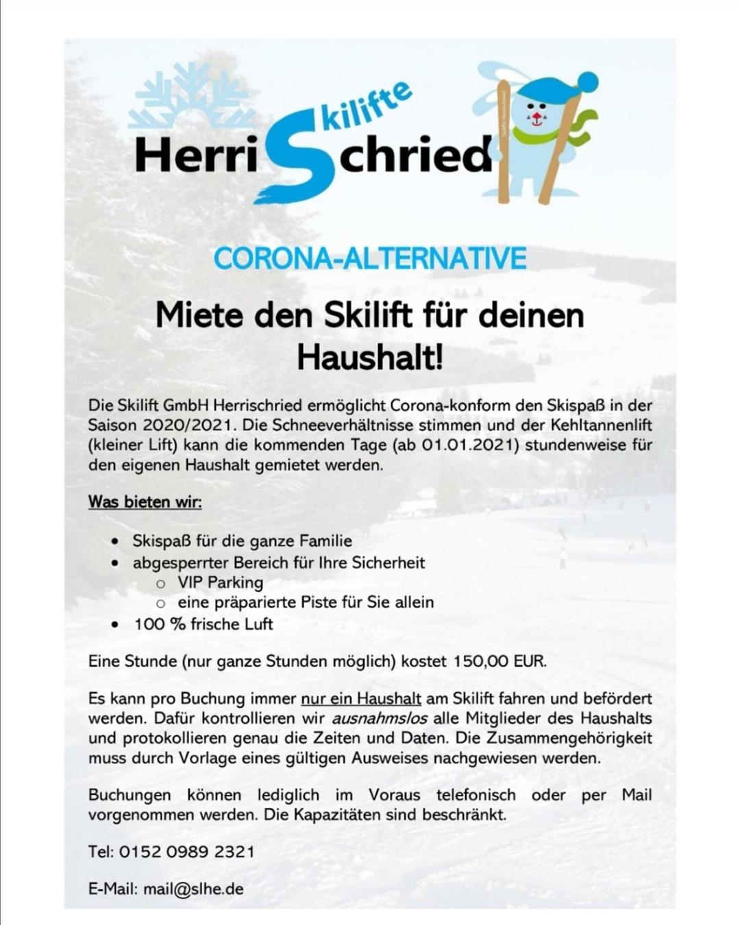 Aktuelles Angebot am Skilift Herrischried