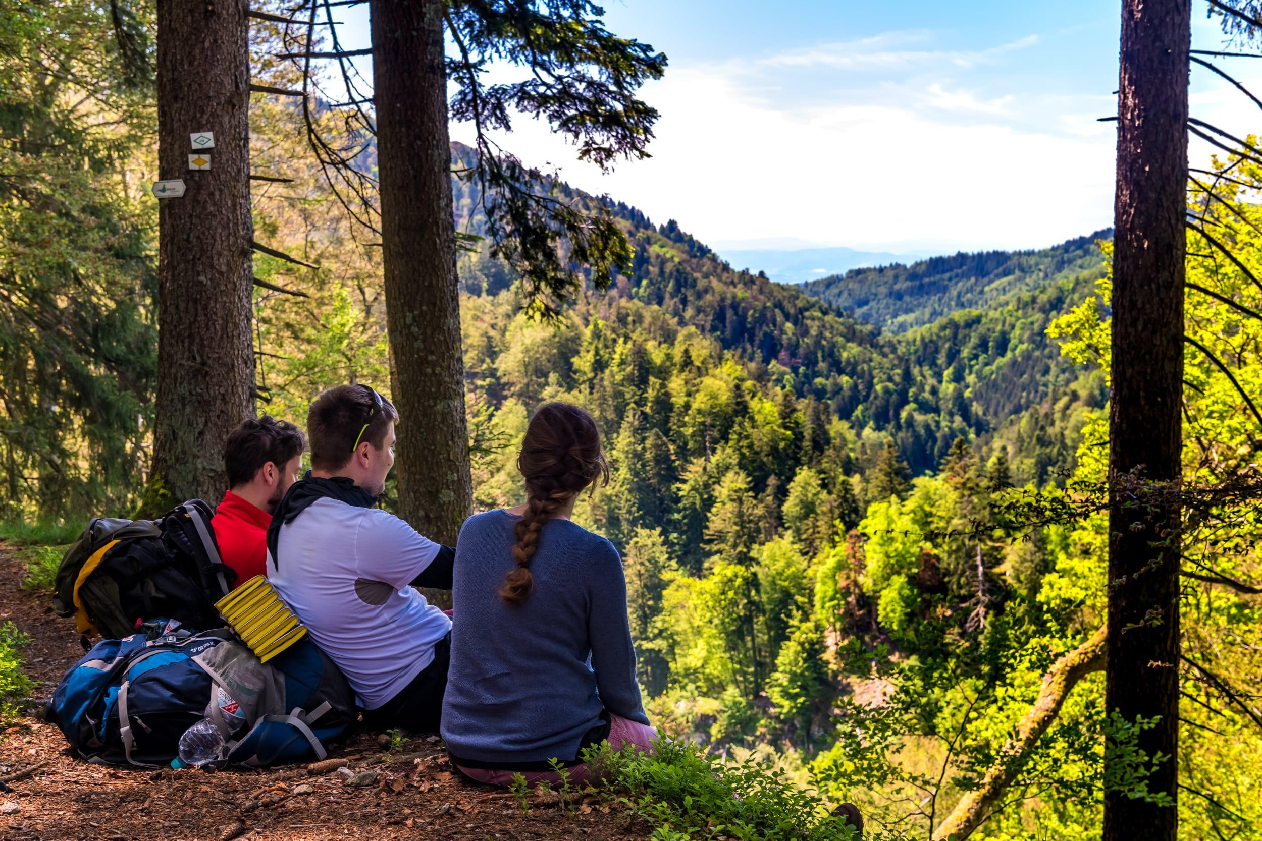 Drei Wanderer schauen in das Wehratal hinab